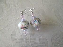 Handmade White / Pastel Lampwork Glass Bead & Pink Crystal Silver Tone E... - $7.60