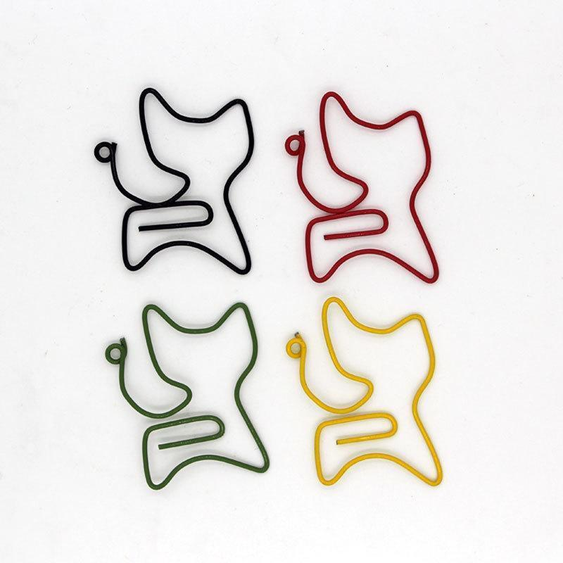 12pc/set Cat Shape Paper Clips Cute Bookmark Memo Clip For Office School Supply