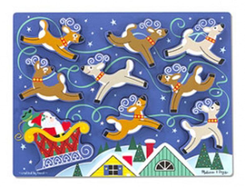 Melissa and Doug Santa & Reindeer Chunky Puzzle - 9 Pieces