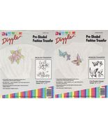 """2 Dizzle Pre Shaded Iron On Transfer Butterflies Tea Rose Floral 14"""" x 17"""" - $11.99"""
