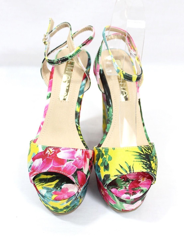 97a3d11c2df Liliana Anneka-24 Open Toe Platform Floral Denim Wedge Women s Shoes Sandals
