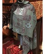 Vintage Style Teal Blue Green Black Elephant Freeform Sweater Knit Ponch... - $43.56