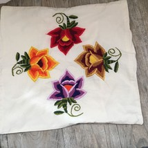 """HAND EMBROIDERED 16""""x16"""" Throw PILLOW Cover COLORFUL FLOWERS - $19.80"""