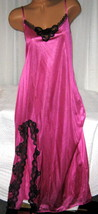 Magenta Pink Black Lace Trim Front Slit Long Night Gowns 1X Nylon - $23.00