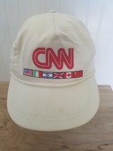 Vintage CNN News International USA Made Embroidered Cotton One Size Whit... - $33.85