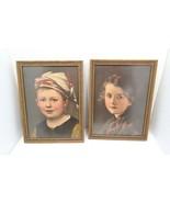 Pair of Children Samuel Schiff Co. New York, 1890's, Original Frames, Do... - $39.55