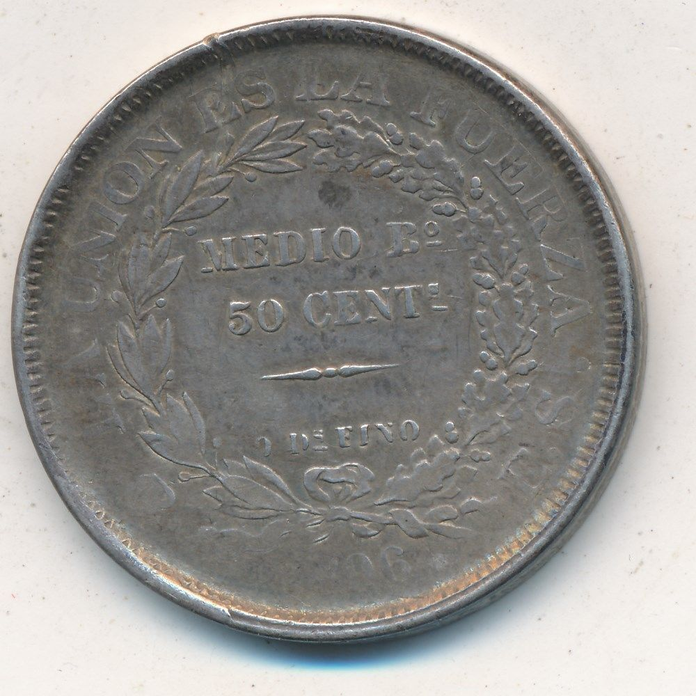 1896 BOLIVIA 50 CENTS SILVER COIN-NICE CIRCULATED BOLIVIAN COIN-SHIPS FREE!