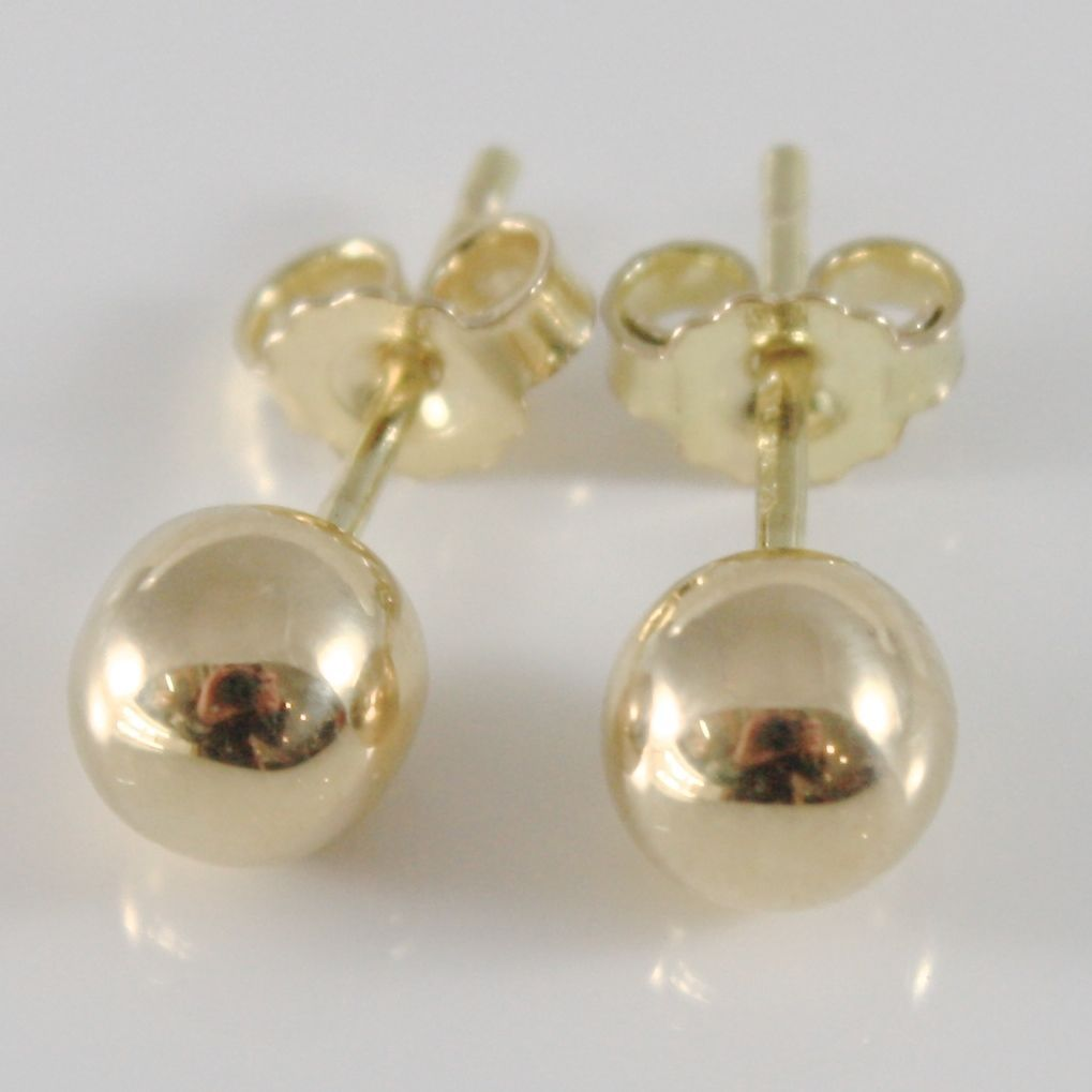 18K YELLOW GOLD EARRINGS WITH 6 MM BALLS BALL ROUND SPHERE, MADE IN ITALY