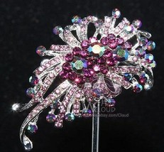 Vintage Style Wedding Dress Purple Rhinestone Crystal Brooch Pin - $5.93
