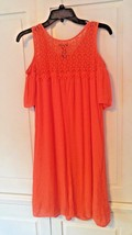 New Boutique Cold Shoulder Ruffle Crochet Dress Orange New Directions Small - $20.56