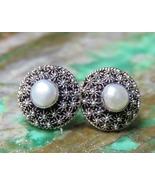 925 Silver Urchin & Pearl Stud Earrings ER-950-DG - $19.50