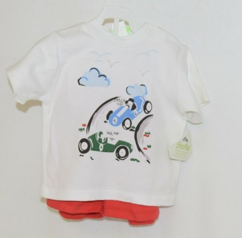 Snopea Two Piece Boys Short Set Race Cars Red Shorts White Shirt Size 18 Months