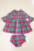 Ralph Lauren Infant Girls 24 M Flannel Pink/Green Dress Pocket Ruffle Co... - $27.69