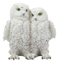 "Mystical Two Snow White Owl Couple Statue 7.25""H Whimsical Forest Owls - $25.99"