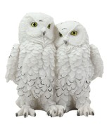 """Mystical Two Snow White Owl Couple Statue 7.25""""H Whimsical Forest Owls - $25.99"""