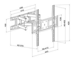 TV Wall Mount Bracket with Full Motion Articulating Dual Arm Swivel Tilt fit 23  image 7