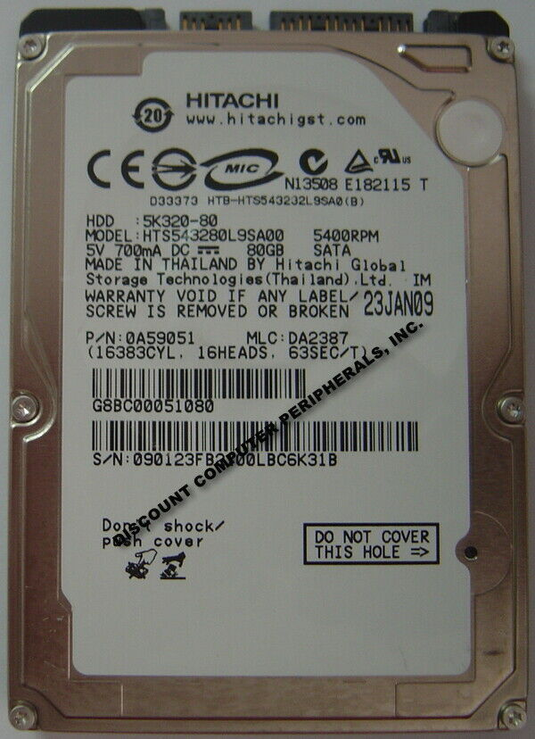"NEW 80GB Hitachi SATA 2.5"" 9.5MM hard drive HTS543280L9SA00 Free USA Shipping"