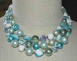 Vintage Mid Century DEMARIO Blue Green Glass Bead Beaded Choker Necklace - $99.00