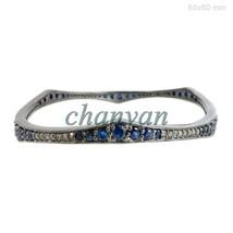 Vintage Look 1.0Ct Rose Cut Diamond 925  Silver Sapphire Bracelet Bangle... - $172.25