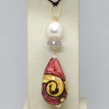 18K YELLOW GOLD PENDANT AMETHYST, PEARL & CERAMIC BIG DROP HAND PAINTED IN ITALY image 1