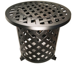 Round Patio End Table  With Ice Bucket Insert Nassau Outdoor Cast Aluminum image 1
