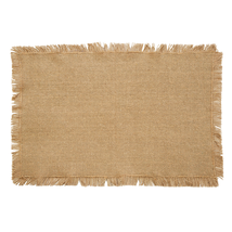BURLAP NATURAL Placemat Fringed - Set of 6 - 12x18 - Soft Cotton - VHC Brands