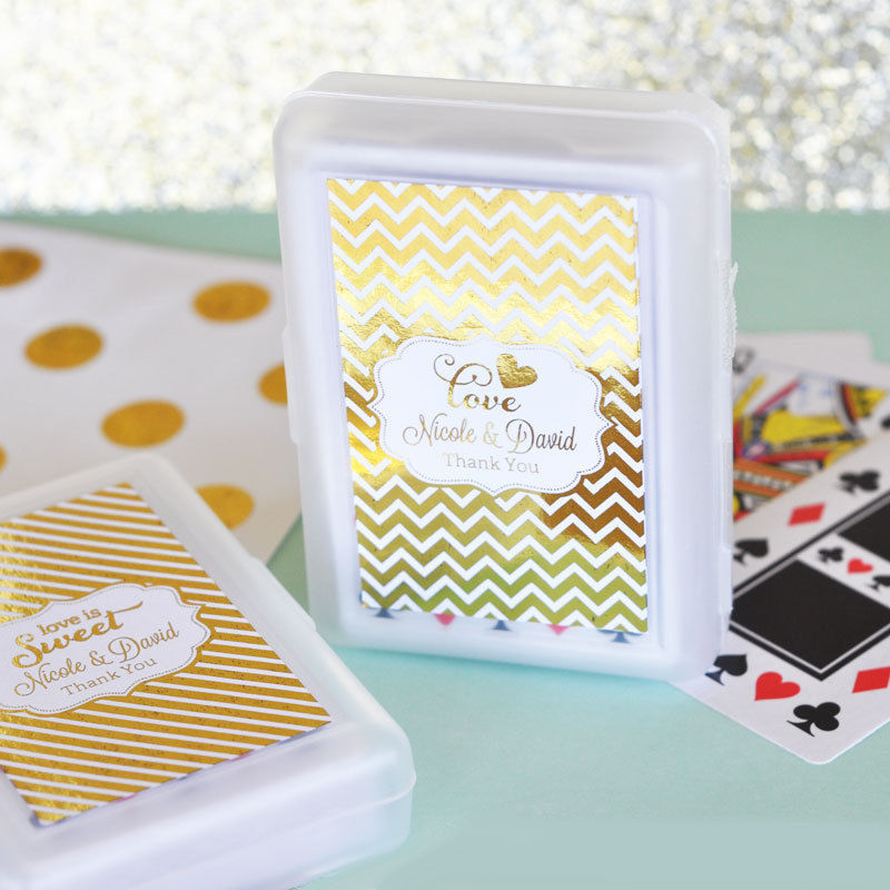 100 Personalized Gold or Silver Foil Playing CARDS Birthday Bridal Wedding Favor