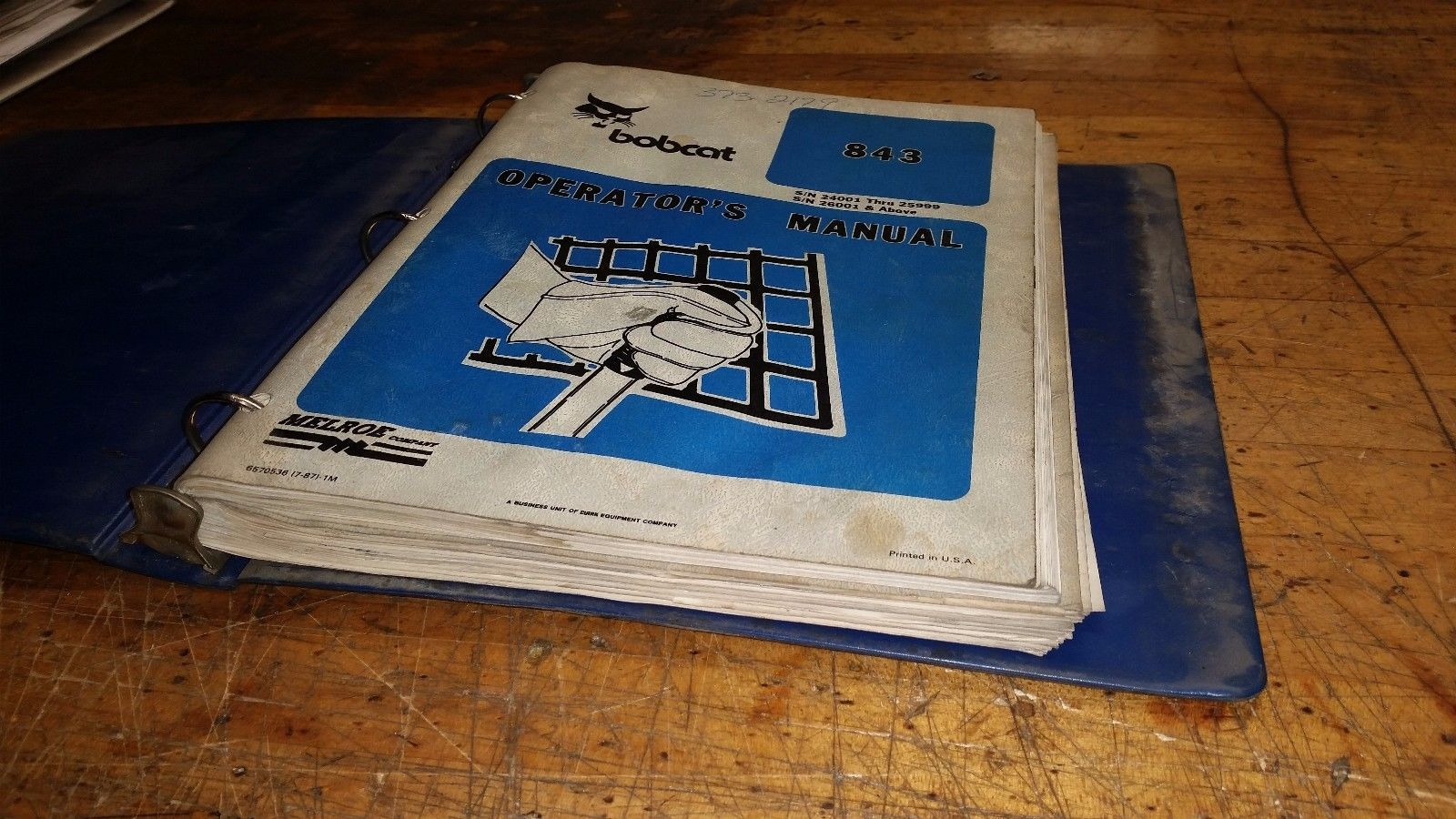 Bobcat 843 Service parts owners Repair Manual book guide printed paper (3 books)