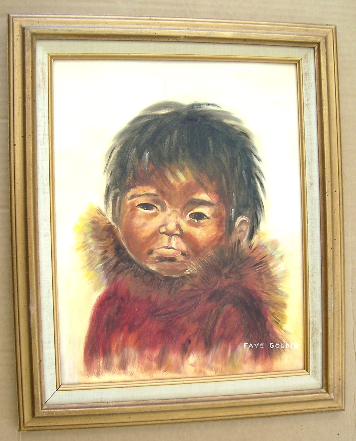 "Vintage Hand Painted  ""Untitled/ Portrait of A Young Eskimo Child"" By Faye Goldi"