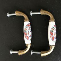 Vintage Ceramic Brass Drawer Pulls Handles Asian Japanese Art Set of 2 image 9