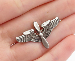 925 Sterling Silver - Vintage Petite Oxidized Detail Wings Brooch Pin - ... - $25.19