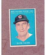 1961 Topps # 481 Hank Sauer Chicago Cubs MVP Nice Card NM - $4.99