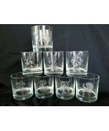 Etched Holiday Old Fashioned Whiskey Drinking Glasses Christmas Designs ... - $65.50