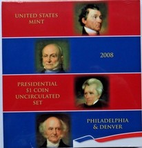AMERICAN PRESIDENTIAL $1 P & D 2008 SET STILL WRAP IN PLASTIC MINT UNC C... - $54.82