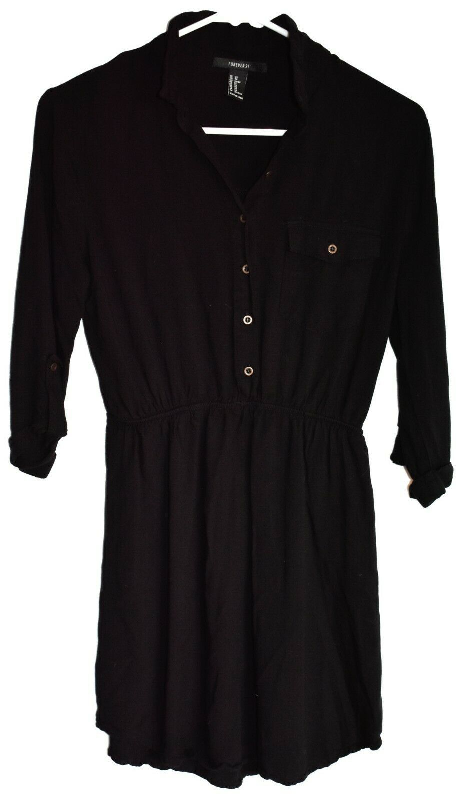Forever 21 00174473 Casual Knit Jersey Black Dress w Buttons Size XS