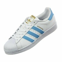 ADIDAS SUPERSTAR FOUNDATION WHITE/BABY BLUE MEN SIZE 8 BY3716 NEW IN BOX - $74.79
