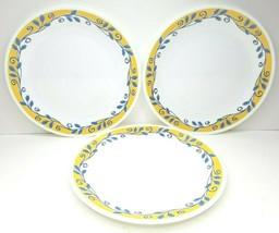 "3 Corelle Corning Casa Flora 10 1/4"" Yellow Blue Vine Replacement Dinner Plates - $17.69"