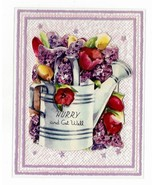 1950s Vintage Clear Plastic Get Well Greeting Card w Diecat Paper Fold Out  - $9.95