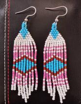 Beaded blue, teal, peach, white, pink fringe earrings - $20.00