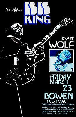 Primary image for B. B. King - Howlin' Wolf - Bowen Field House - 1973 - Concert Poster