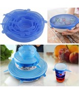 Silicone Stretch Lids Cover Multi Size 6 pack Reusable Food Seal Wrap Six - $17.99