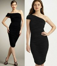 Elie Tahari Hudson Black Ruched Knit Jersey One Shoulder Dress L $398 - $148.75