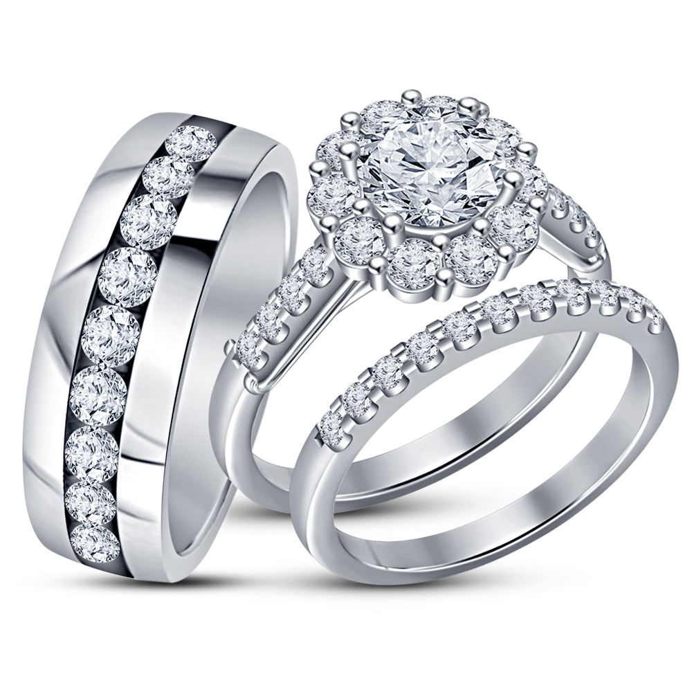 Primary image for 14K White Gold Over His And Her Diamond Engagement Bridal Wedding Trio Ring Set