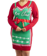 NEW WOMENS PLUS SIZE  3X RED GREEN & WHITE MRS CLAUS CHRISTMAS SWEATER D... - $29.02