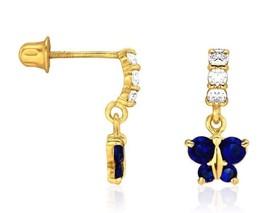 0.55 CTW 14K Yellow Gold Diamond & Sapphire Butterfly Dangle Screwback Earrings - $65.32