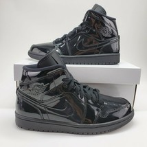 "NEW Nike Air Jordan 1 Mid ""Patent Triple Black"" Womens Sz 6.5 Shoes BQ64... - $187.11"