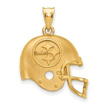 Sterling Silver or Gold Plated Pittsburgh Steelers Football Helmet Logo Pendant - $79.99+
