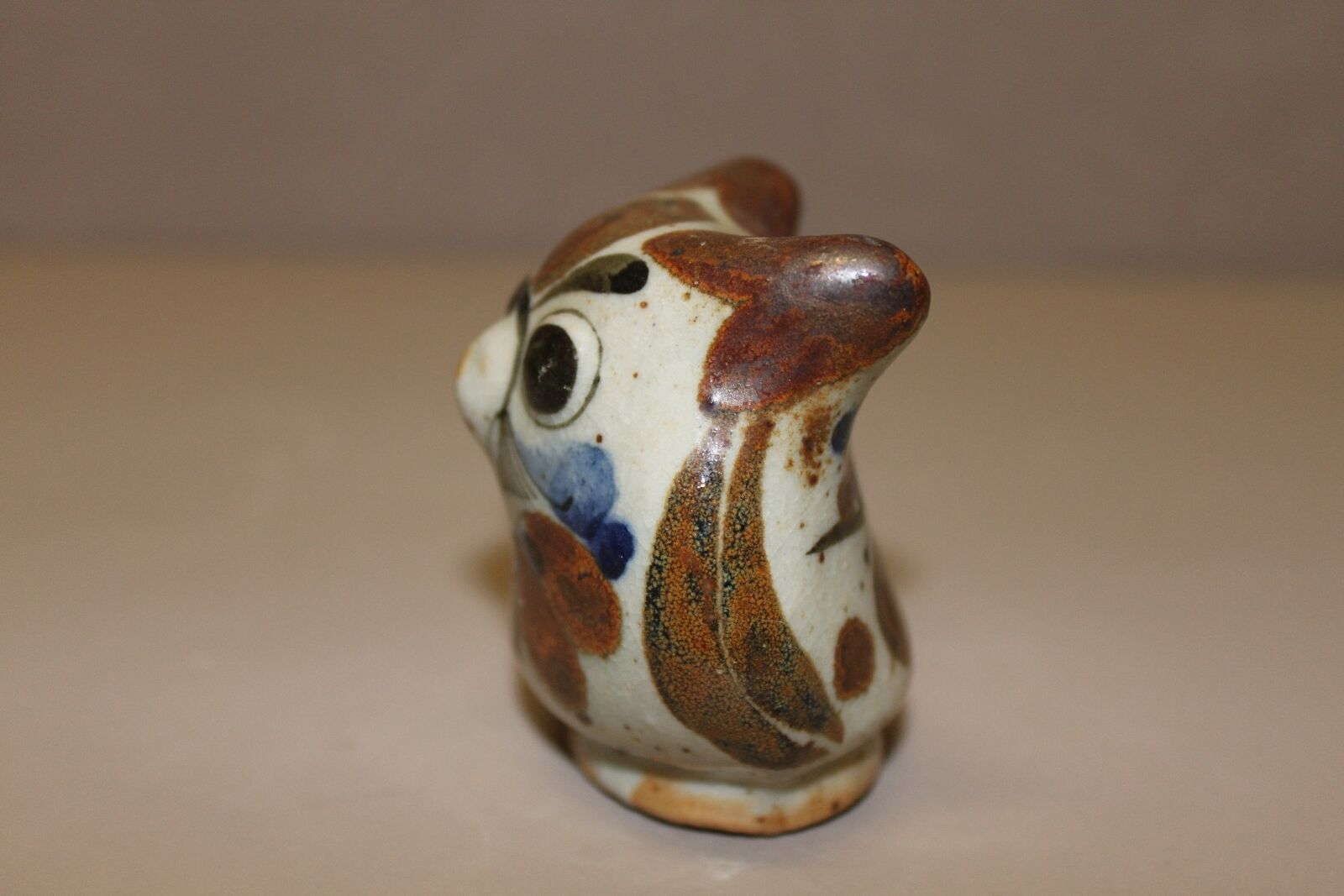 Hand Painted Owl Figurine Decorative,  Brown and Blue in Color