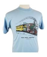 Vintage Rock River Thresheree T-Shirt Medium Crew Single Stitch Trains T... - $18.99