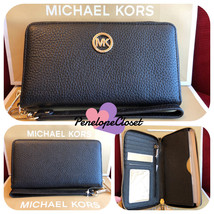 NWT MICHAEL KORS LEATHER FULTON LG FLAT MF PHONE CASE WALLET IN BLACK/GO... - $59.88